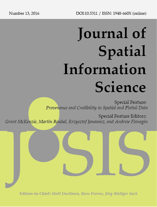 View No. 13 (2016): Special Feature on Provenance and Credibility in Spatial and Platial Data