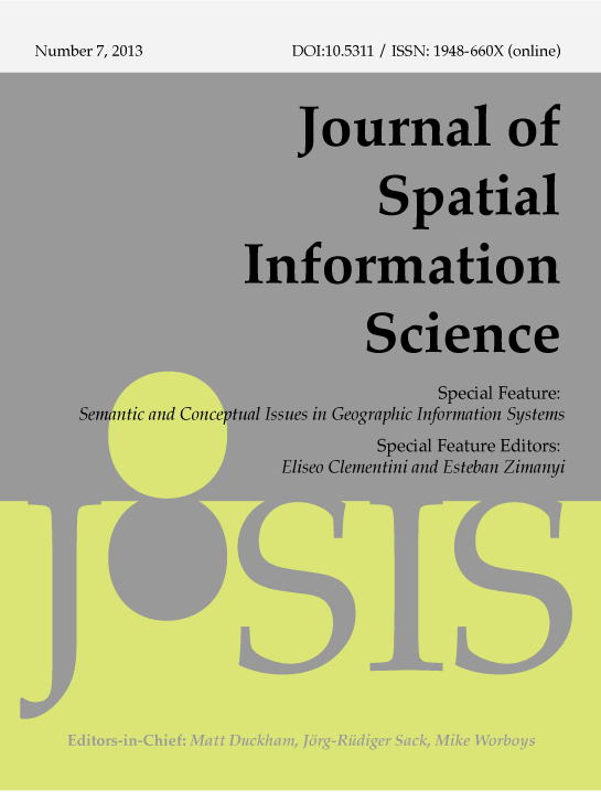 View No. 7 (2013): Special feature on Semantic and Conceptual Issues in GIS (SeCoGIS)